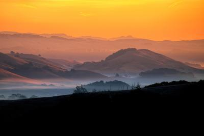 Hills of the Future, Mellow Sun and Hills, Petaluma, Sonoma County-Vincent James-Photographic Print