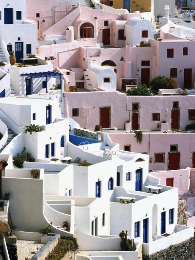 Hillside Buildings on Santorini-Bob Jacobson-Photographic Print