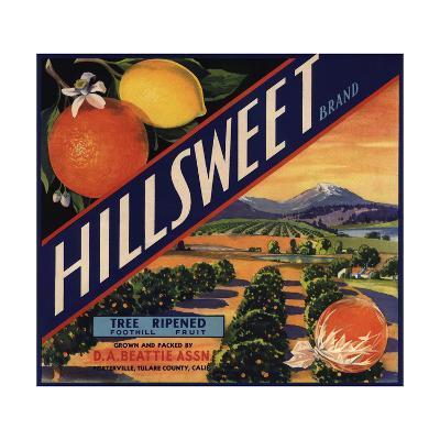 Hillsweet Brand - Porterville, California - Citrus Crate Label-Lantern Press-Art Print