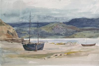Hilly Coast Scene with Boats, 19th Century-John Absolon-Giclee Print