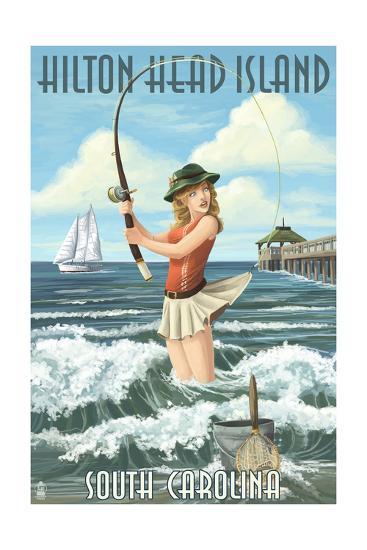 Hilton Head Island, South Carolina - Pinup Surfer Fishing-Lantern Press-Art Print