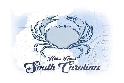 Hilton Head, South Carolina - Crab - Blue - Coastal Icon-Lantern Press-Art Print