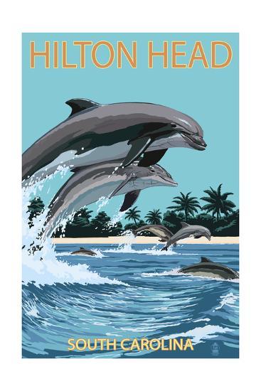 Hilton Head, South Carolina - Dolphins Jumping-Lantern Press-Art Print