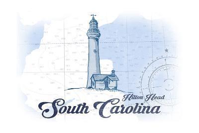 Hilton Head, South Carolina - Lighthouse - Blue - Coastal Icon-Lantern Press-Art Print
