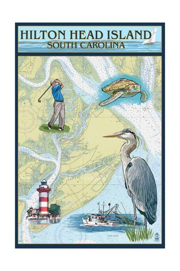 Hilton Head, South Carolina - Nautical Chart-Lantern Press-Art Print