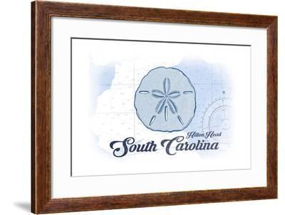 Hilton Head, South Carolina - Sand Dollar - Blue - Coastal Icon-Lantern Press-Framed Art Print