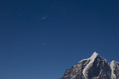 Himalayan Mountain Range Against Blue Sky with Stars at Night in the Khumbu Region-John Burcham-Photographic Print