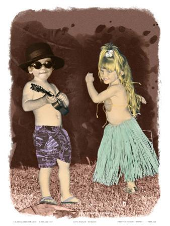 Let's Dance, Hand Colored Photo of Hawaiian Children
