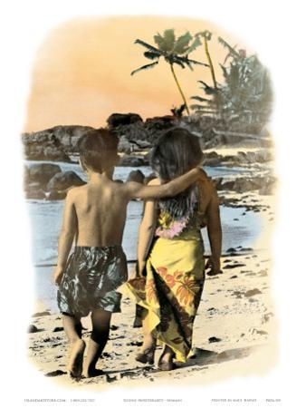 Young Sweethearts, Hand Colored Photo of Hawaiian Children
