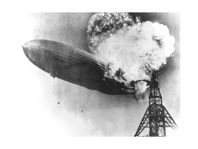 Hindenburg Crash, 1937-us Navy-Giclee Print