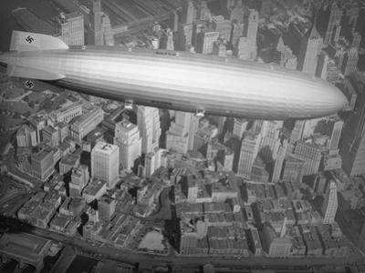 Hindenburg Flying over Manhattan