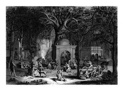Hindu Fakirs Practicing their Superstitious Rites, 19th Century-Bell-Giclee Print