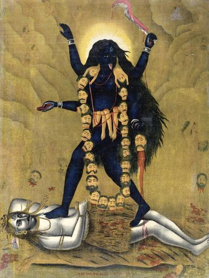 Hindu Goddess Kali Dancing on Siva--Giclee Print