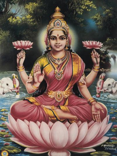 Hindu Goddess Srhi Sentamarai Laximi, Wife of Vishnu--Art Print