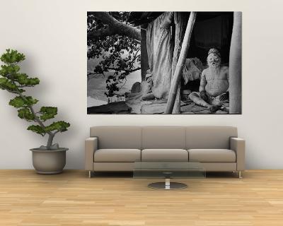 Hindu Holy Man Sitting in His Home-James Burke-Wall Mural