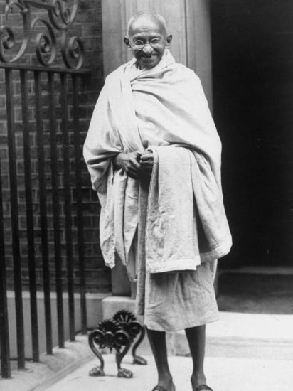 Hindu Nationalist Leader Mohandas Gandhi Standing Outside 10 Downing Street--Premium Photographic Print