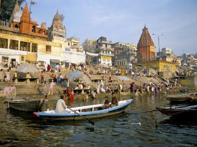 Hindu Sacred River Ganges at Dasasvamedha Ghat, Varanasi, Uttar Pradesh State, India-Richard Ashworth-Photographic Print