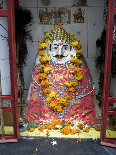 Hindu Street Shrine, Decorated with Marigold Mala (Garlands) for Diwali Festival, Udaipur, India-Annie Owen-Photographic Print