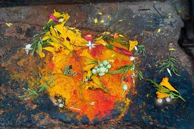 Hinduism: Pigments (Red Kumkum, Yellow Turmeric/Saffron Powder) and Scattered Flower Petal?--Photographic Print