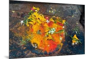Hinduism: Pigments (Red Kumkum, Yellow Turmeric/Saffron Powder) and Scattered Flower Petal?