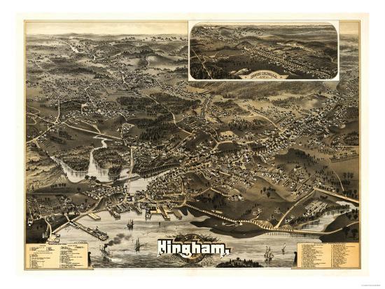 Hingham, Massachusetts - Panoramic Map-Lantern Press-Art Print