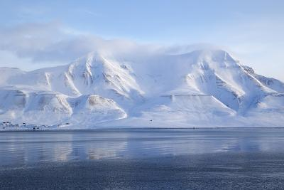 Hiorthfjellet Mountain, Adventfjorden (Advent Bay) Fjord with Sea Ice in Foreground, Svalbard-Stephen Studd-Photographic Print