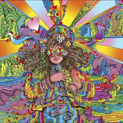 Hippie Chick Swril Glasses-Howie Green-Giclee Print