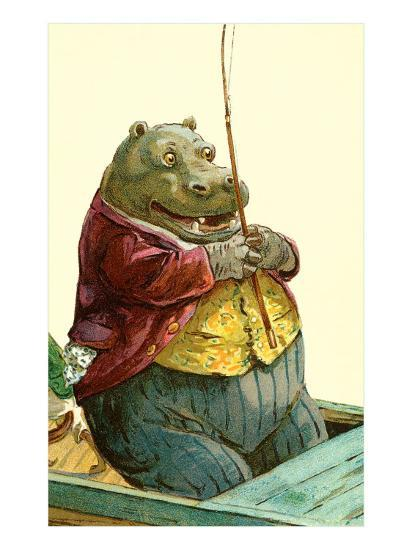Hippo in Three-Piece Suit Fishing--Art Print