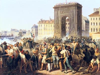 Battle at the Porte St Denis, 28th July, 1830, Paris