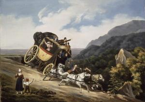 Diligence versant dans un précipice by Hippolyte Lecomte