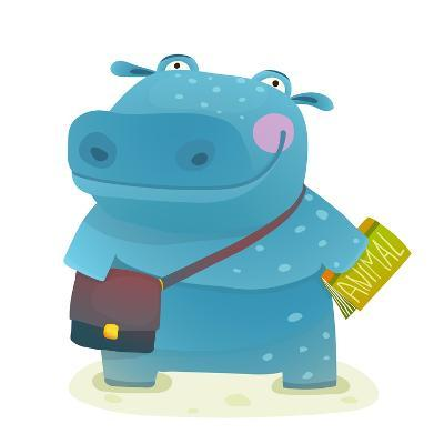 Hippopotamus Kid Student with Book and Bag Going to School. Happy Fun Watercolor Style Pupil Animal-Popmarleo-Art Print