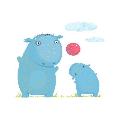 Hippopotamus Parent Playing Ball with a Child. Mammal Parent Animal Cartoon Wildlife, Cheerful Hipp-Popmarleo-Art Print