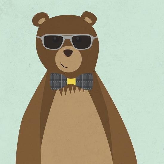 Hipster Bear II--Premium Giclee Print