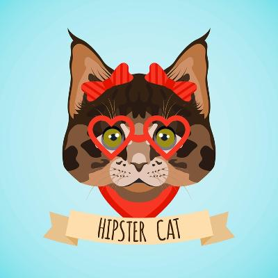 Hipster Cat Portrait-Macrovector-Art Print
