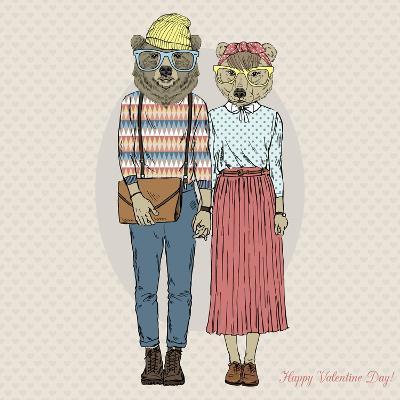 Hipster Couple of Bears - Valentine's Day Design-Olga_Angelloz-Art Print