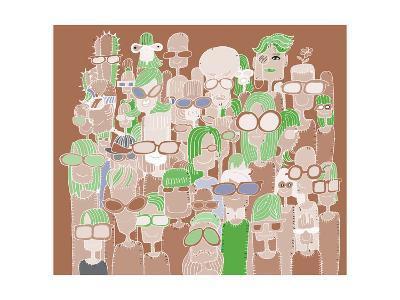 Hipster Hand Drawn Doodle Crowd of Happy People in Sunglasses-pakpong pongatichat-Art Print