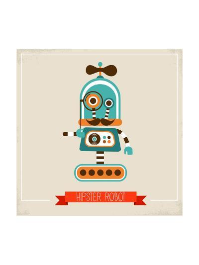 Hipster Robot Toy Icon And Illustration-Marish-Art Print