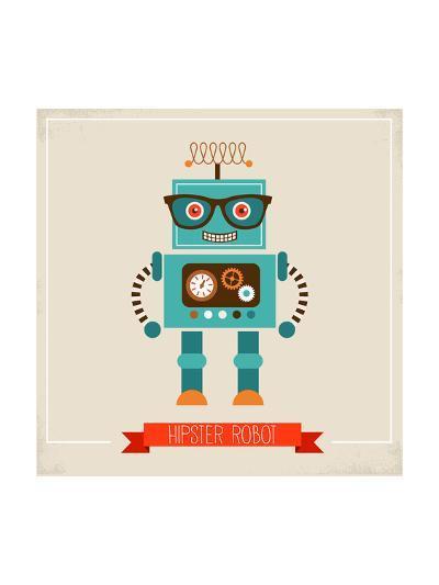 Hipster Robot Toy Icon And Illustration-Marish-Art Print