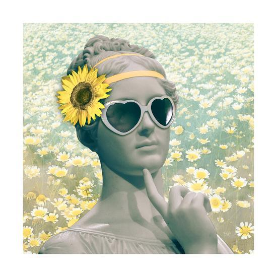 Hipster Statue with Sunflowers-THE Studio-Premium Giclee Print