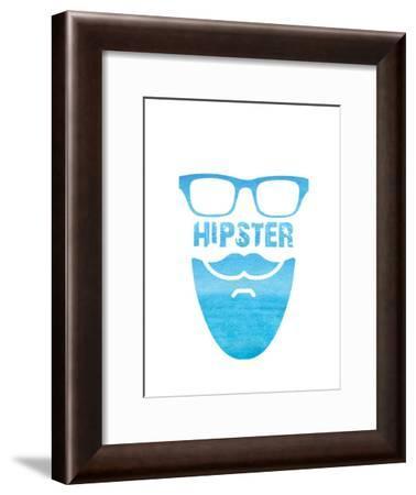 Hipster Watercolour Text-Indigo Sage Design-Framed Art Print