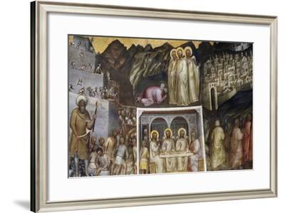 Hiram and Construction of Tower of Babel, Abraham Hosting Three Angels, Sodom and Gomorrah-Giusto de' Menabuoi-Framed Giclee Print