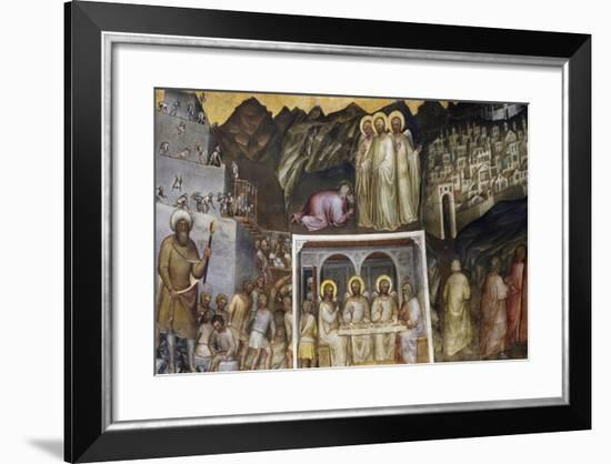 Hiram and Construction of Tower of Babel, Abraham Hosting Three Angels, Sodom and Gomorrah-Giusto de' Menabuoi-Framed Giclee Print