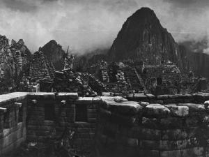 Machu Picchu Ruins on a Semicircular Tower and Masonry Walls by Hiram Bingham