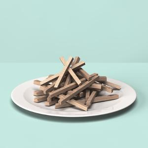 French Fries Made out of Wooden Block by Hiroshi Watanabe