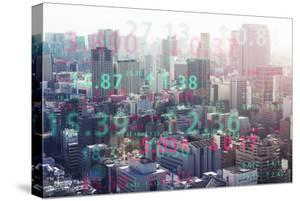 Stock Index with Cityscape Aerial View by Hiroshi Watanabe