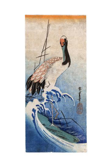Hiroshige: Crane, C. 1834-Ando Hiroshige-Giclee Print