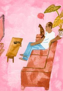 A man watching TV with a cat, 2016 by Hiroyuki Izutsu