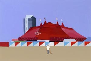 A man with a circus tent and a dog,  2014 by Hiroyuki Izutsu