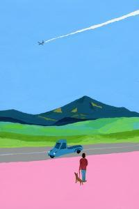 Airplane and pick up truck and dog and meadow by Hiroyuki Izutsu