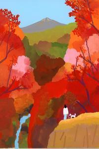 Autumnal leaves and waterfalls by Hiroyuki Izutsu